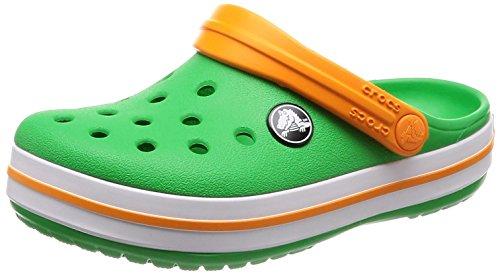 Crocs Crocband Clog Kids, Unisex-Kinder Clogs, Grün (Grass Green/White/Blazing Orange), 29/30
