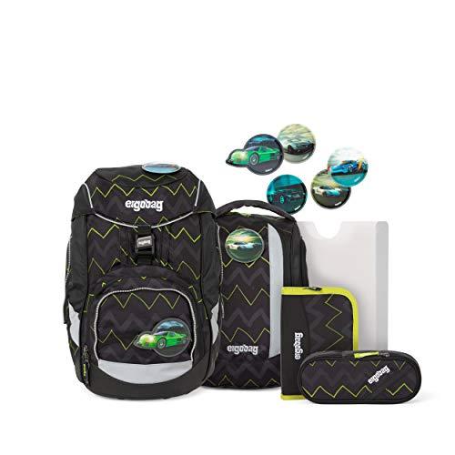 ergobag pack Set - ergonomischer Schulrucksack, Set 6-teilig - Drunter und DrüBär - Black