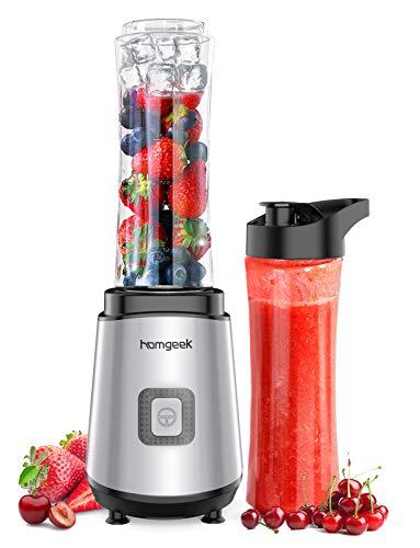 Homgeek Mixer Smoothie Maker, Standmixer mit 2 x 600 ml BPA-freien Trinkflaschen, Shake Mixer für Shakes,...