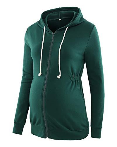 Love2Mi Damen Schwangere Kapuzenpullover Zipper Sweatshirts Jacke Umstandsmode Langarm Hoodie, Dunkelgrün, S