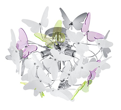 Reality Leuchten R60213017 Butterfly A++ to E, Deckenleuchte, Acryl, G9, Chrom, 45 x 45 x 28.5 cm