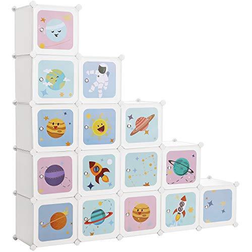 SONGMICS Regalsystem mit 15 Würfeln, Aufbewahrungsschrank für Kinder, Steckregal, Schuhregal aus Kunststoff,...
