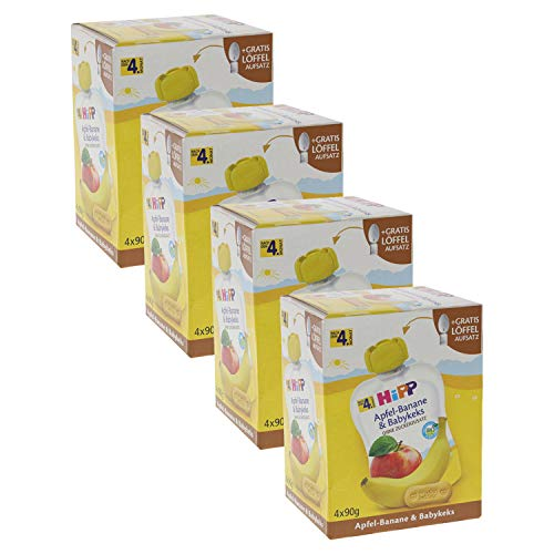 HiPP Quetschbeutel für Babys, Frucht und Getreide, Apfel-Banane mit Babykeks, 100% Bio-Früchte ohne...