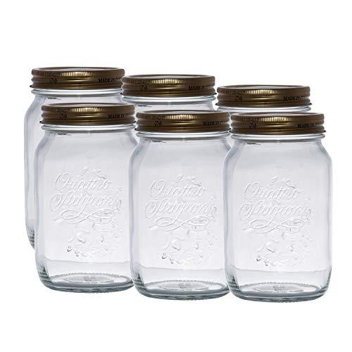 Einmachglas 1 Liter Quattro Stagioni 6er Set | 6 x Quattro Stagioni 1000ml von Bormioli Rocco, weiß