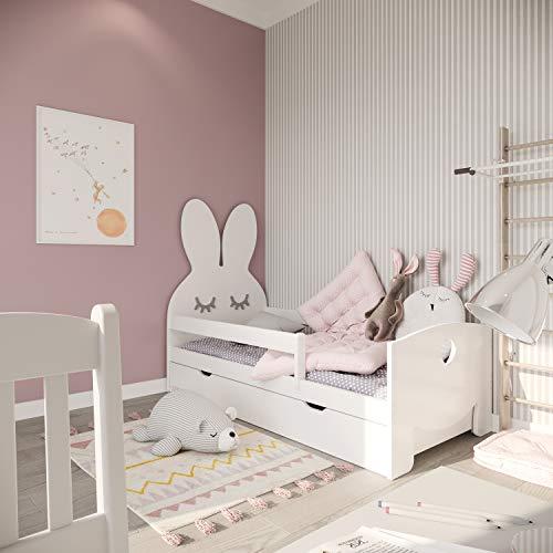 Need Sleep Hase Rausfallschutz Kinderbett Komplett - Bett mit Lattenrost Schublade Matratze 70x140 70x160 |...
