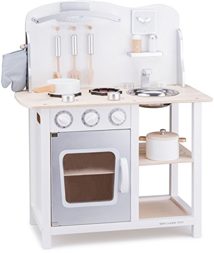New Classic Toys - 11053 - Kinderrollenspiele - Hölzern Kinderküche Bon Appétit - Weis/Silver -...