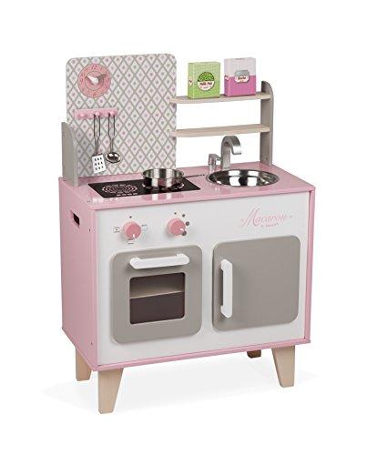 """Janod J06567 """"Macaron"""" Holzherd für Kinder, ausgestattet mit einem Kühlschrank und einer Mikrowelle, mit..."""