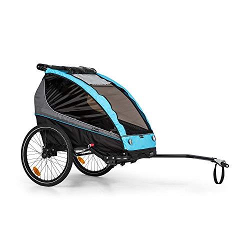 Klarfit Kiddy King Fahrradanhänger für Kinder, 2-Sitzer max. 40 kg, 2-in-1, nutzbar als Jogger-Buggy,...