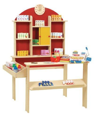 roba Kaufladen, Kinder Kaufmannsladen, inkl, Kaufladenzubehör, Holz natur, Verkaufsstand mit Theke, Uhr,...
