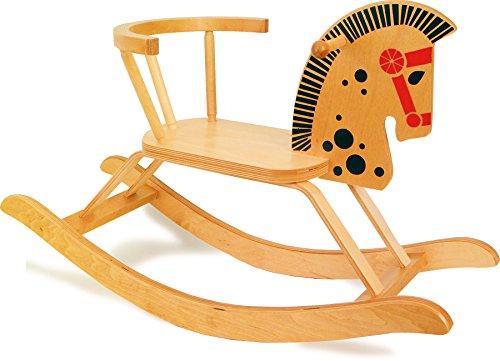 small foot 9402 Klassisches Schaukelpferd aus Holz, nostalgisches Design, mit Rückenbügel, ab 2 Jahren