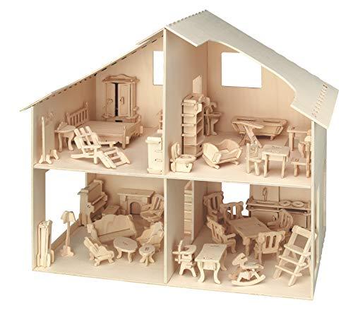 Pebaro Donau Elektronik _M880 3D Puzzle Puppenhaus mit Möbeln