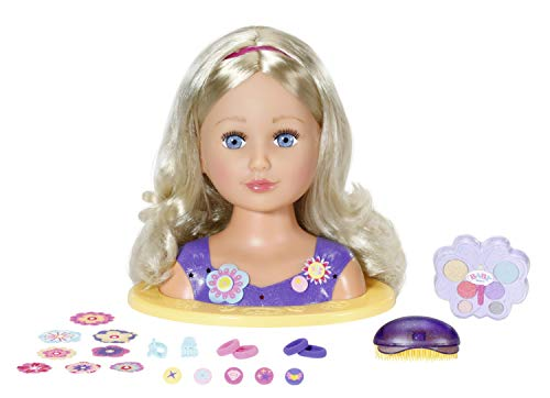 Zapf Creation 825990 BABY born Sister Styling Head - Schminkkopf - Frisierkopf mit hochwertigen langen blonden...