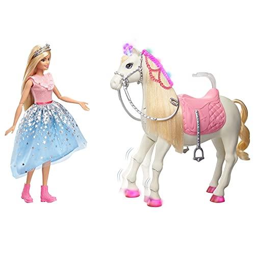 Barbie GML79 GYK64 - Prinzessinnen Abenteuer Tanzendes Pferd und Puppe, Mädchen Spielzeug ab 3 Jahren