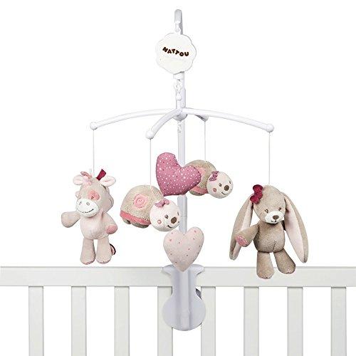 Nattou Mobile mit Spieluhr Nina, Jade und Lili, Sanftes Wiegelied 'La-Le-Lu', 48 x 7 x 15cm, Beige/Rosa/...