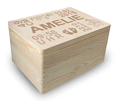MidaCreativ zur Geburt, große Holz-Geschenkbox Gr. 3, Kiefer incl. Auswahl-Lasergravur (GB4) optional auch...