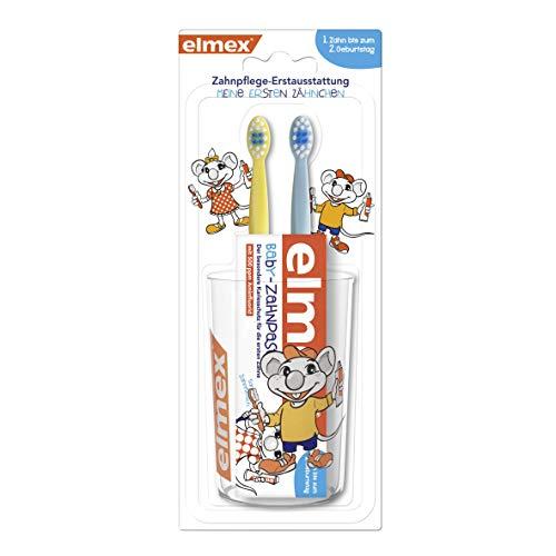 elmex Baby Zahnpflege-Erstausstattung Set - Set bestehend aus Zahnpasta, Zahnbürsten und Becher. Für Kinder...