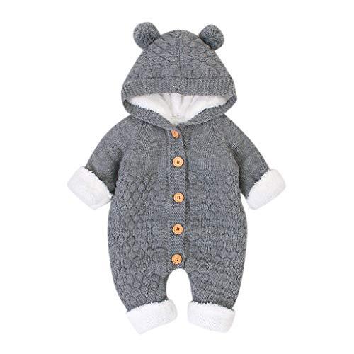 LEXUPE Neugeborenes Baby Ohr Kapuze Gestrickte Strampler Overall Winter wärmer Schneeanzug für Jungen...