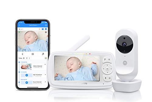 Motorola Ease 44 Connect - Wi-Fi Babyphone mit Kamera – 4,3 Zoll Video Baby Monitor HD Display - Hubble App...