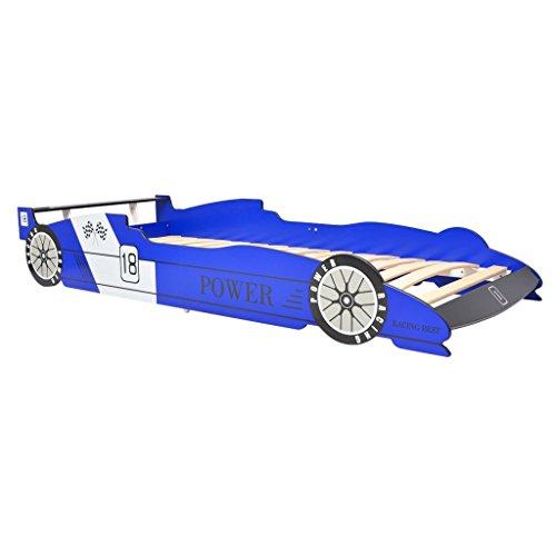 vidaXL Kinderbett 90x200cm Blau Rennwagen Bett Autobett Jugendbett Spielbett