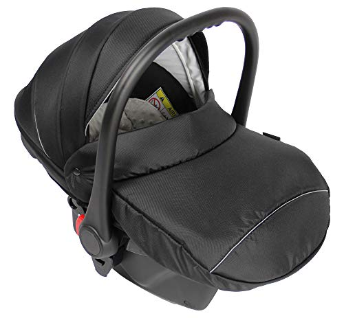 Clamaro Babyschale Auto 'JUNO black' ultraleicht 2,95 kg mit Anti-Shock Schaumstoff, Gruppe 0+ (0-13 kg) ECE-R...