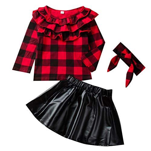 DaMohony Kids Newborn Baby Mädchen Rock Outfit Plaid Top Shirt + Lederrock + Stirnband 3Pcs Kinderkleidung...