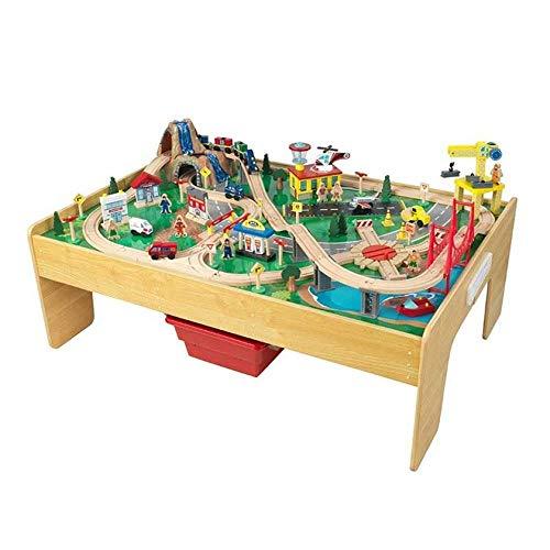 KidKraft 18025 Adventure Town Eisenbahnspielset & Tisch mit EZ Kraft Assembly Bahngleis-Set und Tisch aus...