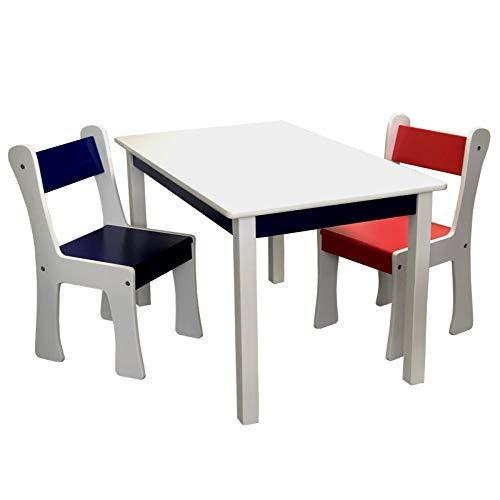 Kindersitzgruppe mit XXL Tisch und 2 x Kinderstuhl Set aus Holz MDF in Weiss bunt mit blau und rot für...