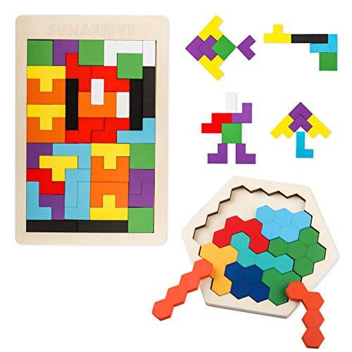Sunarrive Tetris und Hexagon Holzpuzzle für Kinder - Denkspiele - Holz Logikspiele Tangram Puzzle - Iq Spiele...