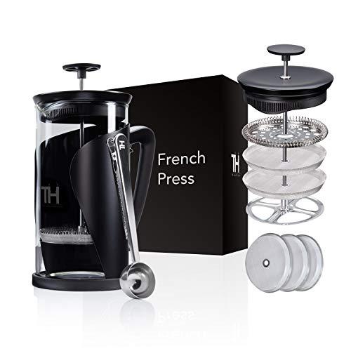 Thiru French Press   Kaffeebereiter mit 4D Filtersystem   Edelstahl & Glas (1L ohne Dosierlöffel)