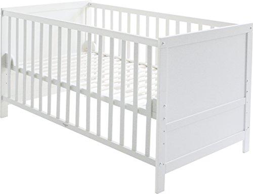 roba Kombi Kinderbett, 70x140 cm, Babybett Holz weiß, 3-fach höhenverstellbar, Baby- bzw. Kinderbett mit...