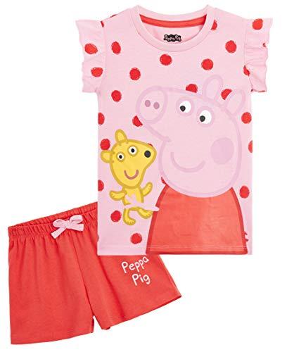 Peppa Pig Schlafanzug Mädchen Kurz, 100% Baumwolle Pyjama Kinder, Zweiteilig Pijama Set, Pink T Shirt und Rot...