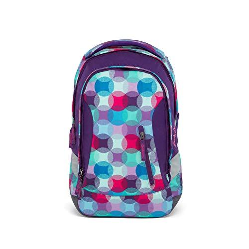 satch Sleek Hurly Pearly, ergonomischer Schulrucksack, 24 Liter, extra schlank, Blau/Türkis/Pink
