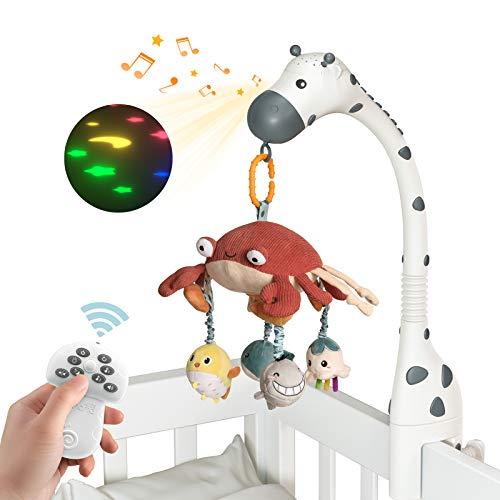 TUMAMA Baby Musikalische Krippe Mobile mit Projektor Spiegel Weiche Hängende Spielzeug Schlaflieder Lichter...