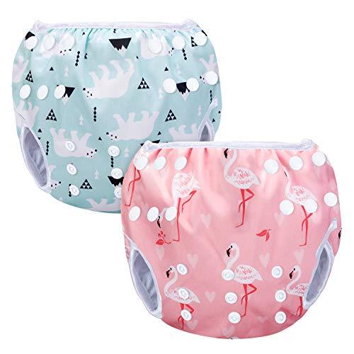 Luxja Schwimmwindel wiederverwendbar (2 Stück), Baby Schwimmhose Verstellbarer, Waschbar Schwimmwindel für...