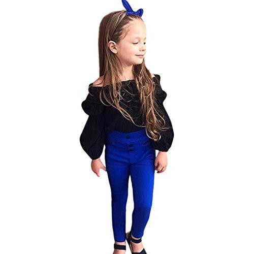 Amlaiworld Mädchen Mode Trägerlos Langarmshirt + blau Hose Kleinkind Prinzessin pullis Kleidung Set,0-5...