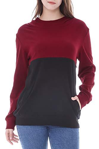 Smallshow Stillpullover Hoodie Damen Langarm Stillen Shirt Patchwork Invisible Zipper Kapuzenpullover...