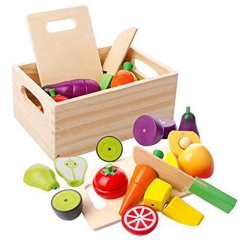 mysunny Hölzernes Küche Kinder Spielzeug, Schneiden Sie Obst und Gemüse Magnetspielzeug, Kochen...
