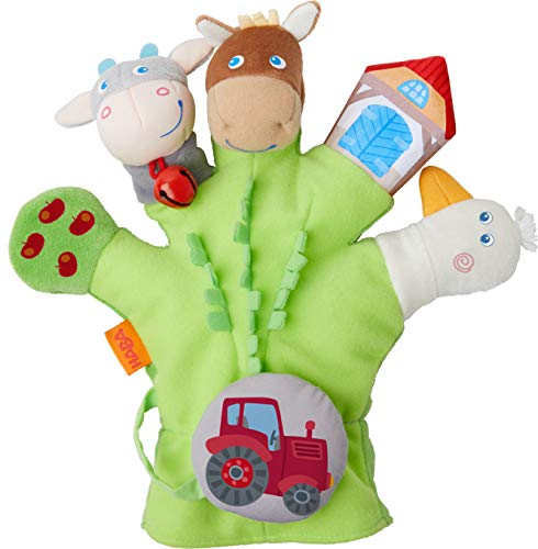 HABA 304933 - Spielhandschuh Bauernhof, weiche Fingerpuppen mit Bauernhofmotiven und Traktor zum Abnehmen,...