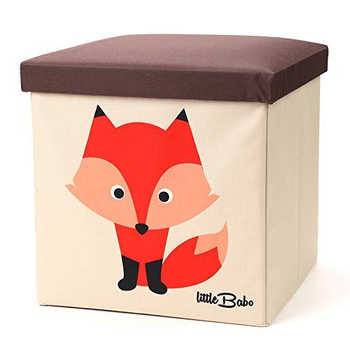 little Babo Faltbare Aufbewahrungsbox Kinder - groß & stabil zum sitzen - Spielzeug-Kiste mit Deckel -...