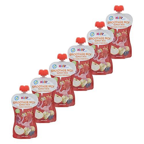 HiPP Smoothie Mix im Quetschbeutel, Rote Früchte in Apfel-Banane, 100% Bio-Früchte ohne Zuckerzusatz, 6 x...
