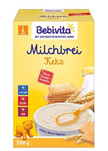 Bebivita Milchbreie ohne Zuckerzusatz-Großpackung, Milchbrei Keks, 4er Pack (4 x 500 g)