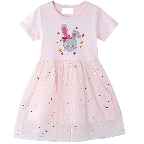 Kleider für Mädchen Babybekleidung Ratte Sterne Pailletten Prinzesin Party Pink Rosa Sommer Kurzarm Tutu...