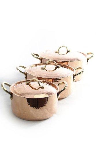 CopperGarden Kupfertopf mit Deckel + Griffen aus Messing I Gehämmerter Kupferkochtopf aus verzinntem Kupfer:...