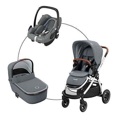 Maxi-Cosi Kombikinderwagen Adorra (Trio-Set) Kinderwagen mit Sportsitz, Babywanne Oria & Babyschale Rock für...