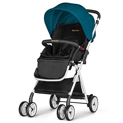 Besrey leicht Kinderwagen Buggy mit Liegeposition klein klappbar mit Regenschutz- dunkelgrün