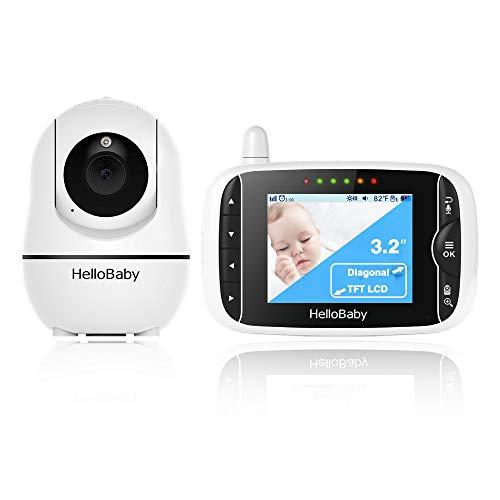 Babyphone mit Kamera,Babyphone mit ferngesteuerter Pan-Tilt-Zoom-Kamera und 3,2-Zoll-LCD-Bildschirm,...