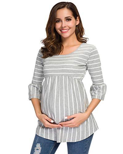 Love2Mi Damen Schwanger T-Shirt Umstandsshirts Streifen Lose Umstandstops Mama Kleidung mit 3/4 Bell-Sleeve...