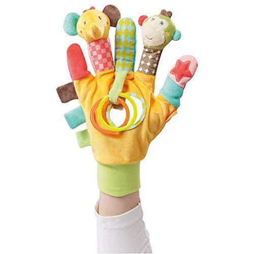 Fehn 074604 Spielhandschuh Safari – Fingerpuppen-Handschuh Affe und Elefant mit Rassel und Quietsche für...