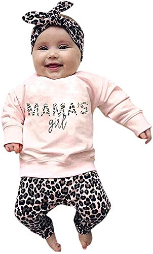 Geagodelia Baby Mädchen Langarmshirts Sweatshirt + Leopardenmuster Lang Legging Hosen Sommer Kleidung Set 0-4...