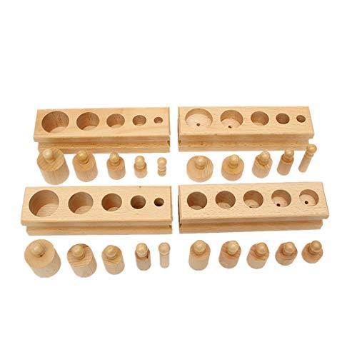 Veroda Montessori Mini Knob Zylinder Holzblöcke Familie Set Spielzeug (Holz)